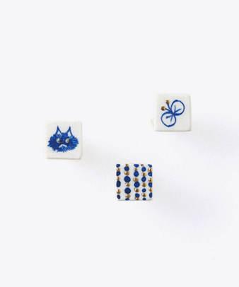 七窯社 / 手描きの小さなタイルのピアスとイヤリング