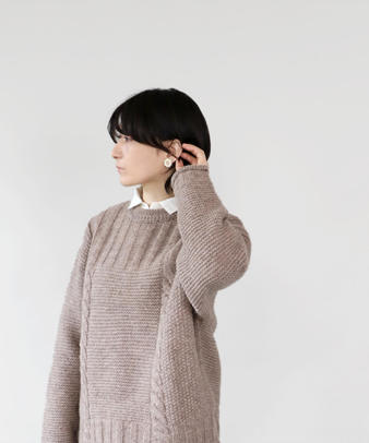 mumokuteki / 真鍮と陶器のアネモネ ピアス/イヤリング_4