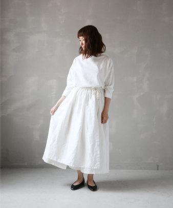 itamuu / Hemp/Organic cotton gaze gather skirt 2pices
