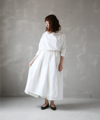 itamuu / Hemp/Organic cotton gaze gather skirt 2pices 1