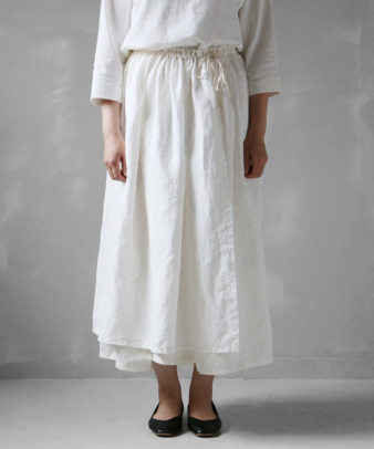 itamuu / Hemp/Organic cotton gaze gather skirt 2pices 2