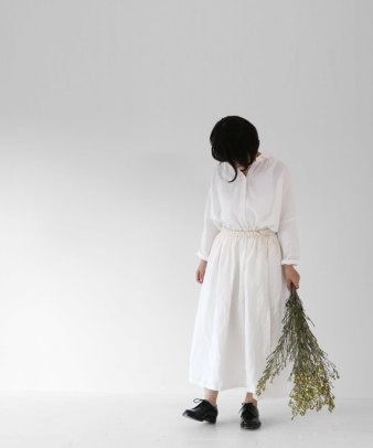 itamuu / Hemp/Organic cotton gaze gather skirt 2pices 10