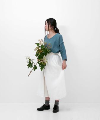 itamuu / Hemp/Organic cotton gaze gather skirt 2pices 11
