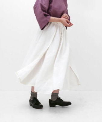itamuu / Hemp/Organic cotton gaze gather skirt 2pices 12
