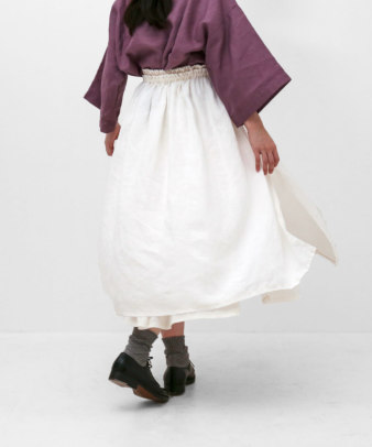 itamuu / Hemp/Organic cotton gaze gather skirt 2pices 14