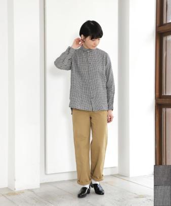 HEAVENLY / リネンちび襟ギンガムチェックシャツ