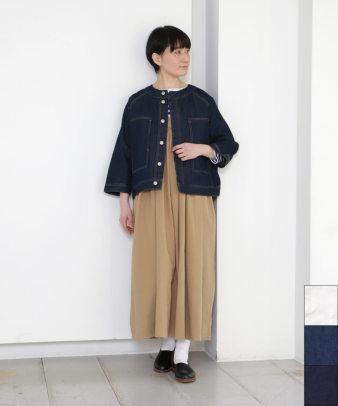 mumokuteki / デニムノーカラージャケット
