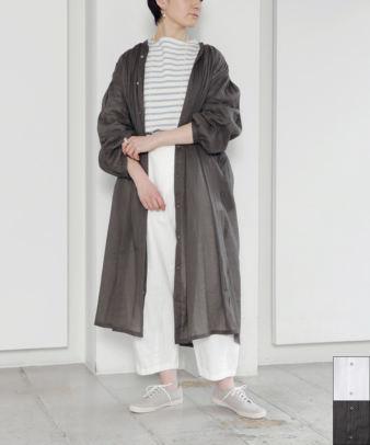 ichi / 綿麻ボリューム袖フロントボタンワンピース