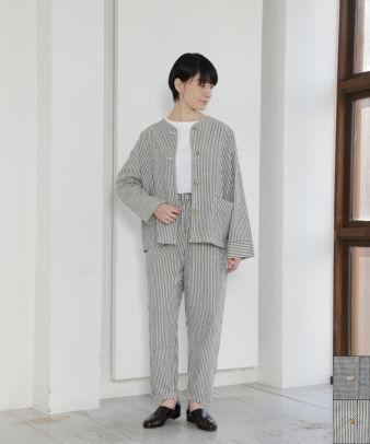 Bliss Bunch / 綿麻ノーカラーワークジャケット