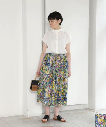 ichi / コットン油絵プリント花柄スカート