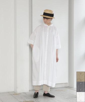 【20%off】mumokuteki / 綿タイプライターバックギャザーシャツワンピース