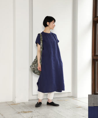 blue willow / リネンバンドカラーシャツワンピース
