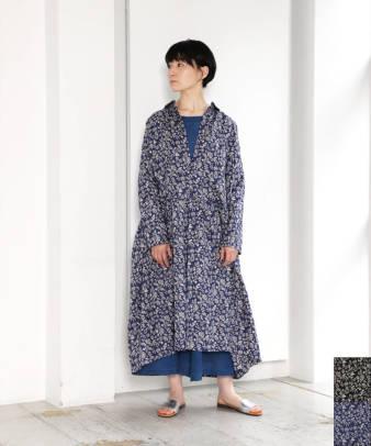 【オンライン限定】ICHI Antiquite's / リネンフラワープリントシャツワンピース