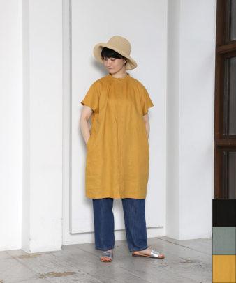 08Mab / リネン半袖比翼ロングシャツ