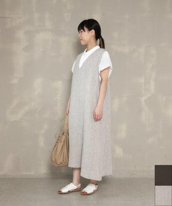 08Mab / リネンVネックジャンパースカート