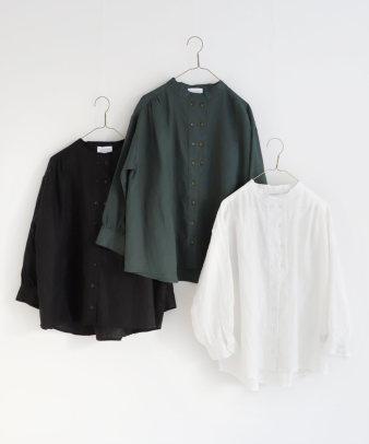 mumokuteki / リネン長袖ダブルボタンシャツ_1