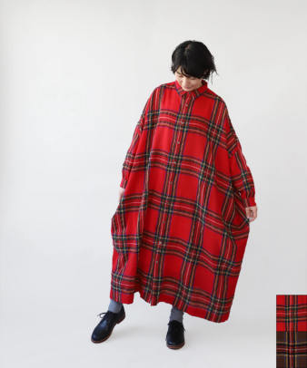 【WEB限定】ichi Antiquite's / Wool Tartan Over Shirt Dress