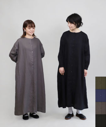 mumokuteki / リネン素材の前開きワンピース_1