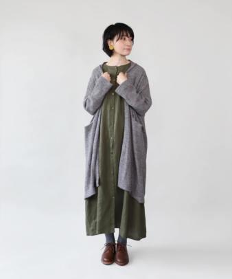 mumokuteki / リネン素材の前開きワンピース_3