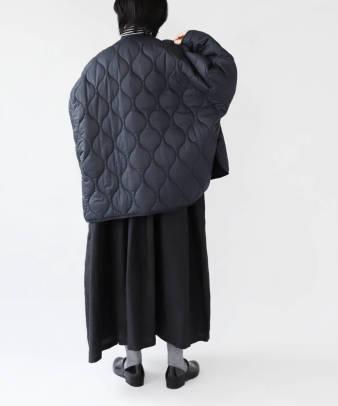 doux bleu / ゆったりワイドなキルティングジャケット_3