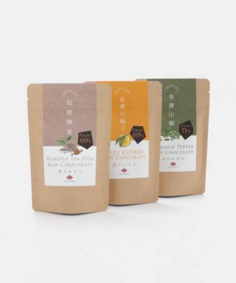 Bean to Bar Raw Chocolate / チョコレート 加賀棒茶・金澤の柚子・金澤山椒