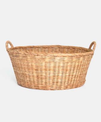 Siam / ラタンふち付き丸型バスケット Lサイズ