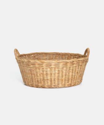 Siam / ラタンふち付き丸型バスケット Mサイズ