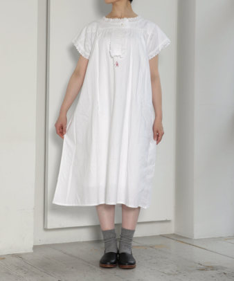 mumokuteki お直し / ヴィンテージホワイトコットンワンピ—ス_4