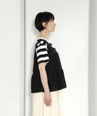 京都紋付黒染め / ヨーロッパホワイトコットンリメイクトップス_3