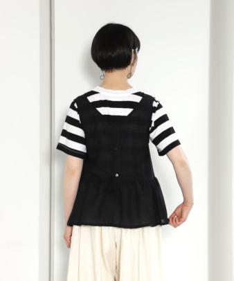 京都紋付黒染め / ヨーロッパホワイトコットンリメイクトップス_4