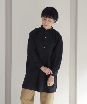 【オンライン期間限定10%off】京都紋付黒染め / ビンテージリネンチュニックシャツ_2