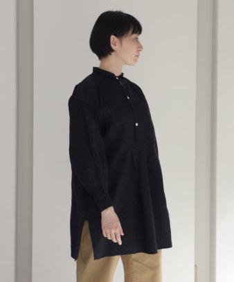 【オンライン期間限定10%off】京都紋付黒染め / ビンテージリネンチュニックシャツ_3