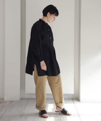 【オンライン期間限定10%off】京都紋付黒染め / ビンテージリネンチュニックシャツ_4