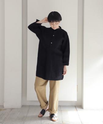 【オンライン期間限定10%off】京都紋付黒染め / ビンテージリネンチュニックシャツ_5