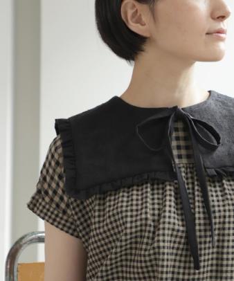 京都紋付黒染め / ビンテージリネンリメイクつけ襟 リボン