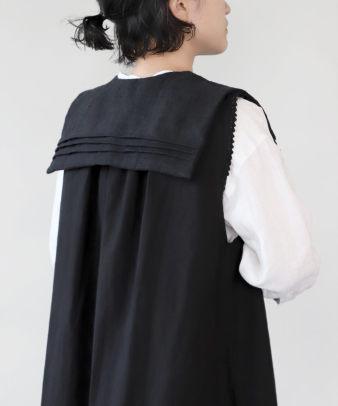 京都紋付黒染め / ビンテージリネンリメイクつけ襟 セーラー