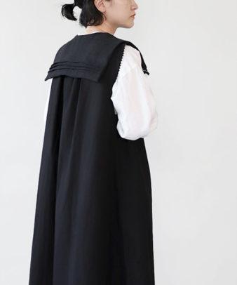 【オンライン期間限定20%off】京都紋付黒染め / ビンテージリネンリメイクつけ襟 セーラー_3