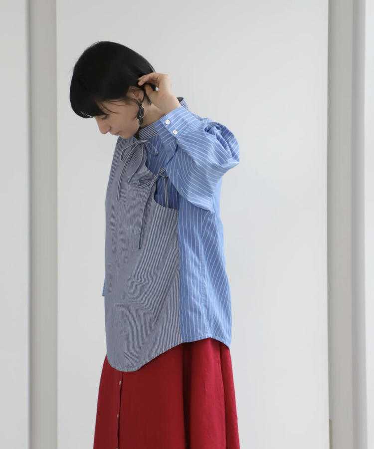 mumokuteki リメイク / ドッキングリボンシャツ ストライプ_1