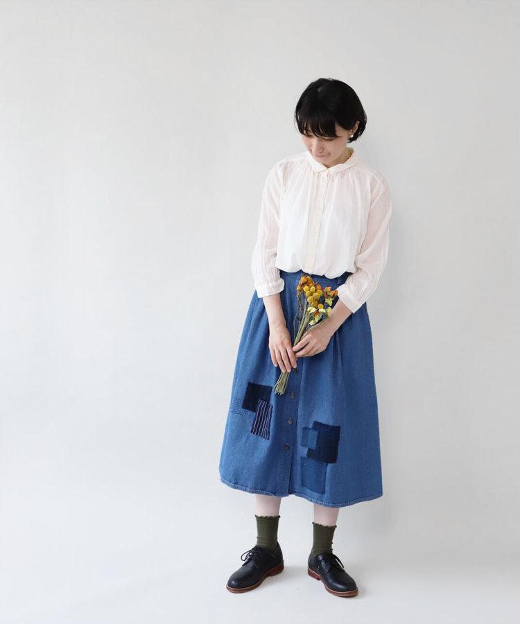 大槌刺し子×mumokuteki / デニムフレアスカート_1