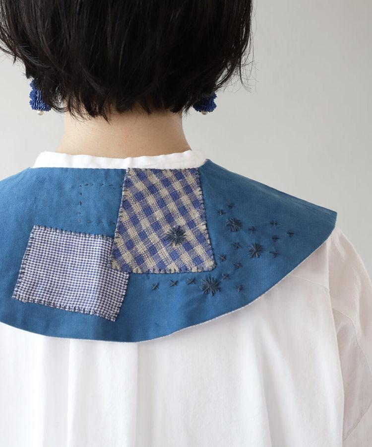 大槌刺し子×mumokuteki / 藍染コットンリメイクつけ襟_1