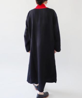 京都紋付黒染め / ビンテージリネンワンピース_7