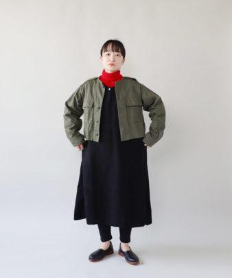 京都紋付黒染め / ビンテージリネンワンピース_8