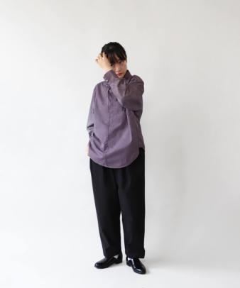 H.A.L.U 草木染め ロッグウッド / リメイクリボンチャイナシャツ_2