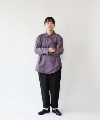 H.A.L.U 草木染め ロッグウッド / リメイクリボンチャイナシャツ_3