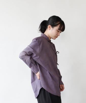 H.A.L.U 草木染め ロッグウッド / リメイクリボンチャイナシャツ_4
