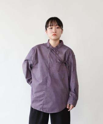 H.A.L.U 草木染め ロッグウッド / リメイクリボンチャイナシャツ_5
