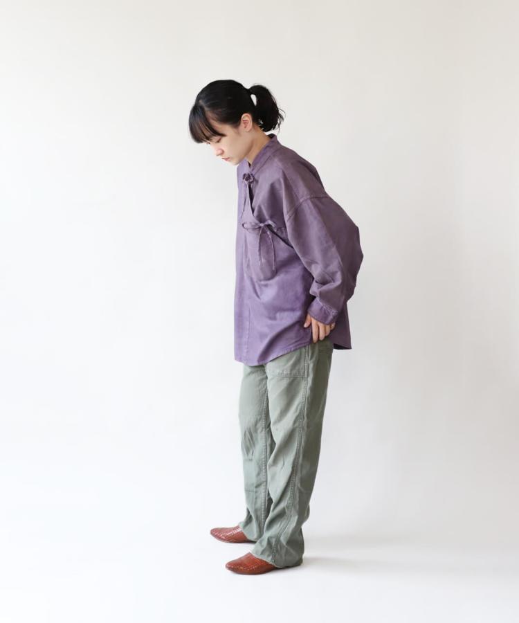 H.A.L.U 草木染め ロッグウッド / リメイクリボンチャイナシャツ_1