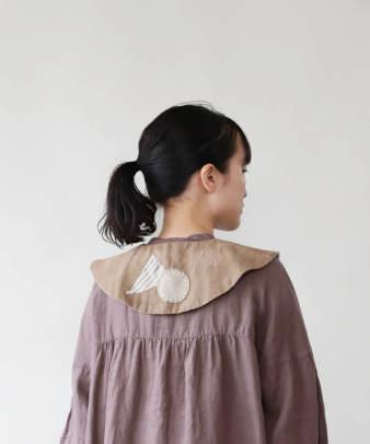 H.A.L.U 草木染め 胡桃 / ビンテージコットンリメイクつけ襟
