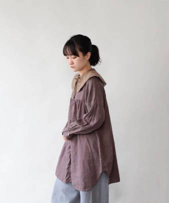 H.A.L.U 草木染め 胡桃 / ビンテージコットンリメイクつけ襟_3