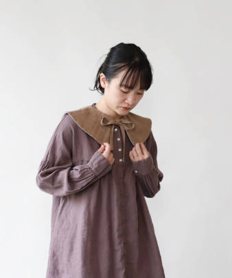 H.A.L.U 草木染め 胡桃 / ビンテージコットンリメイクつけ襟_4
